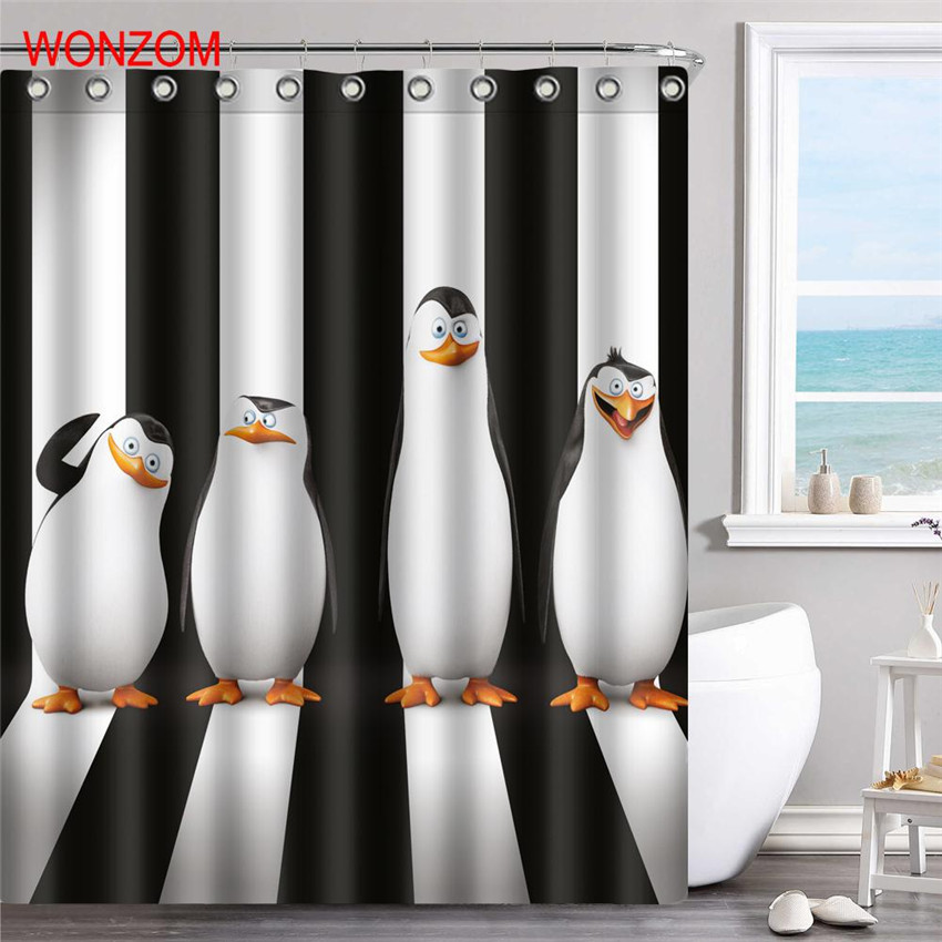 WONZOM 3D Polyester Fabric Penguin Shower Curtains Bathroom With 12 Hooks Waterproof Accessories For Decor Modern Bath Curtain in Shower Curtains from Home Garden