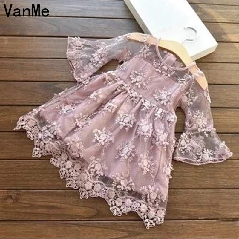 VanMe Brand2017 Summer Girls Wedding&Birthday Party Dresses Princess Children Clothes For Kids Baby Clothing Girl Dress V-110