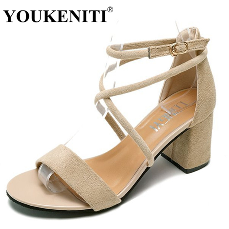 2018 Square Heel Blue Sandals For Women Rome Style Ankle Buckle Strap 6CM Square Heel Height Flock Gladiator Party Sandals сумка органайзер reisenthel toiletbag xl baroque taupe wo7027