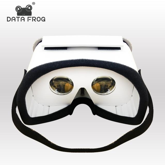 Данных лягушка DIY Портативный виртуальной реальности Очки Google cardboard 3D Очки VR коробка для смартфонов iPhone x 7 8 VR