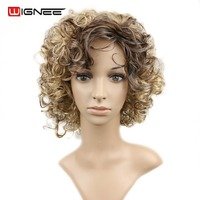 Wignee Mixed Color Ash Blonde Brown 613 None Lace Synthetic Hair Wig Heat Resistant Spiral Curly Wig With Bangs For Black Women