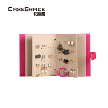 ФОТО Casegrace women earrings gift storage box book shape glossy leather rectangle pink jewelry organizer brand box for girl 01114