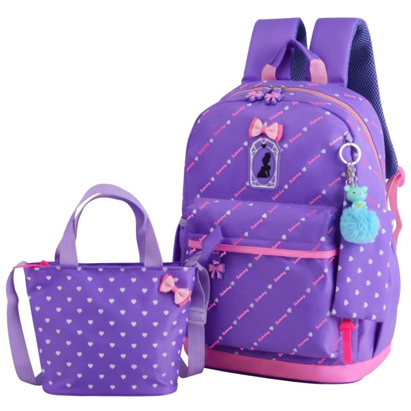 2018 Cute Bow 3pcs/set Children School Bags for Girls School Backpack Satchel Kids Book Bag Shoulder Schoolbag Mochila Escolar
