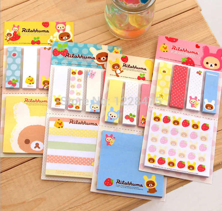 1pack/lot cartoon rilakkuma styles Notepad sticky note Memo Removeable paper Novelty stationery office supplies School