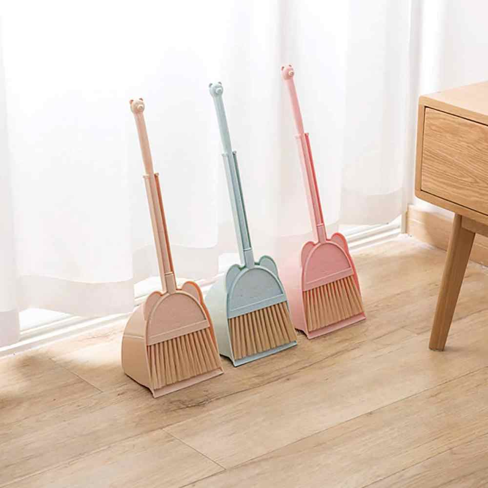2PCS/Set Carton Broom Dustpan Set Kids Mini Desktop Sweep Cleaning Brush Detachable Broom Head Baby Training Toy Tools