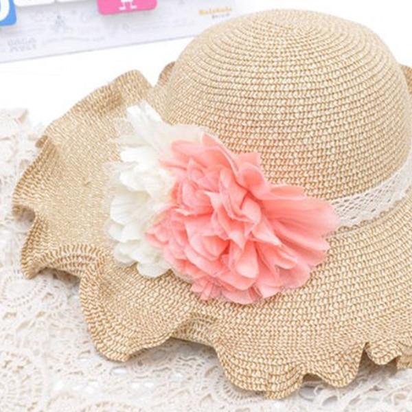 f534238b110 Donna Protezione Della Spiaggia Del Bordo Moda Cappello Del Sole Del Fiore  Bordo Curl Larga Protezione UV Fold Cappelli