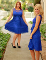Royal Blue Knee Length Lace Bridesmaid Dresses Short Wedding Party Gowns For Bridesmaid