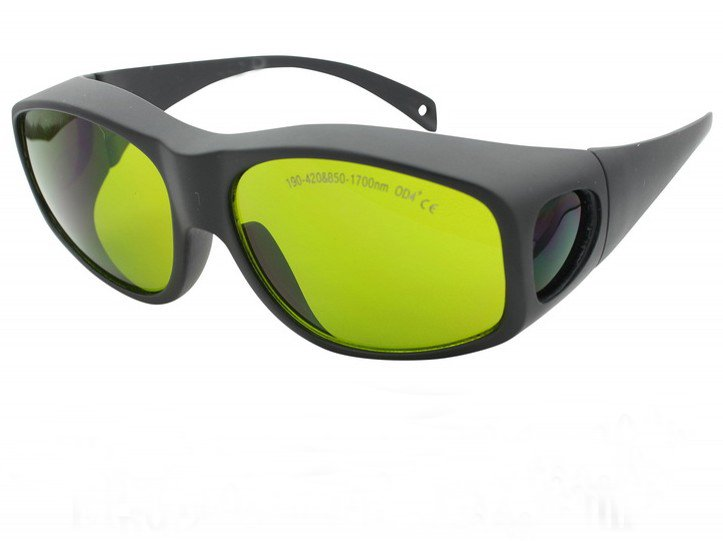 multi-wavelengths laser safety goggle (190-420nm & 850-1700nm O.D 4+ CE ) + black hard box + cleanning cloth