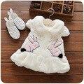 Nueva Llegada Del Bebé Del Desgaste de la Nieve Niñas Ropa de Bebé 0-2 T Blanco Rosado Lindo del Patrón del Conejo de Invierno Ropa de Abrigo y chalecos 2016 Vogue