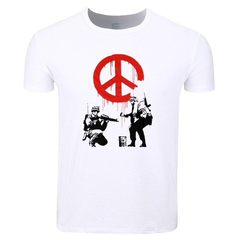 Asian Size Men Print Banksy Flower Thrower Panda Guns Urban Art T-shirt O-Neck Short Sleeves Summer Casual T-shirt HCP4210