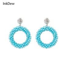 INKDEW Round Shape Drop Earrings for Women Faceted Beads Handmade Crystal Earrings Big Earrings Long Earrings Gift Party boho недорого