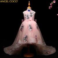 Розовый карнавальные костюмы для детей Одежда Платье на свадебную вечеринку для девочек Вышивка Тюль Платья для церемонии Причастия плать