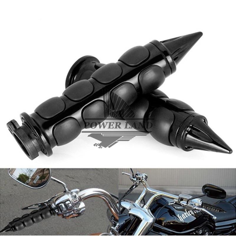 """Spiked Custom Black Motorcycle Handlebar Hand Grips Cruiser Chopper Bike 1/"""" Inch"""
