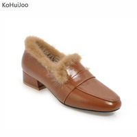 KoHuiJoo Women Patent Leather Pumps Black White Beige Autumn Winter Real Mink Fur Square Heel Low