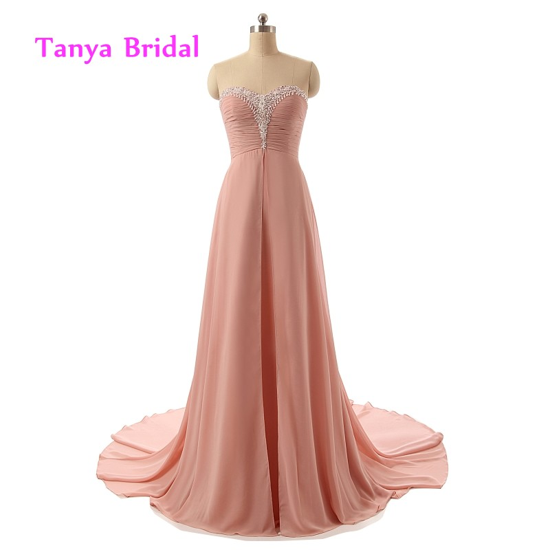 Sweetheart Chiffon   Bridesmaid     Dresses   A Line Beading Sweep Train Dusty Rose Floor Length