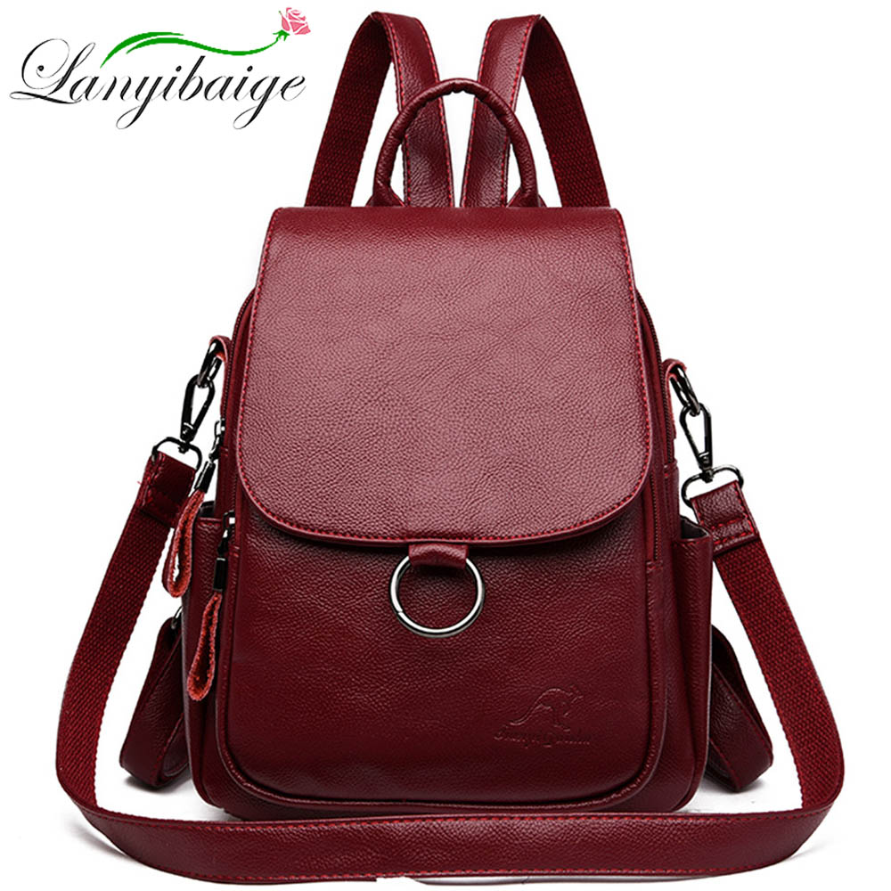 2019 Brand Laptop Backpack Women Leather Luxury Backpack Female Fashion School Backpack Satchel Shoulder Bag For Girls Sac A Dos