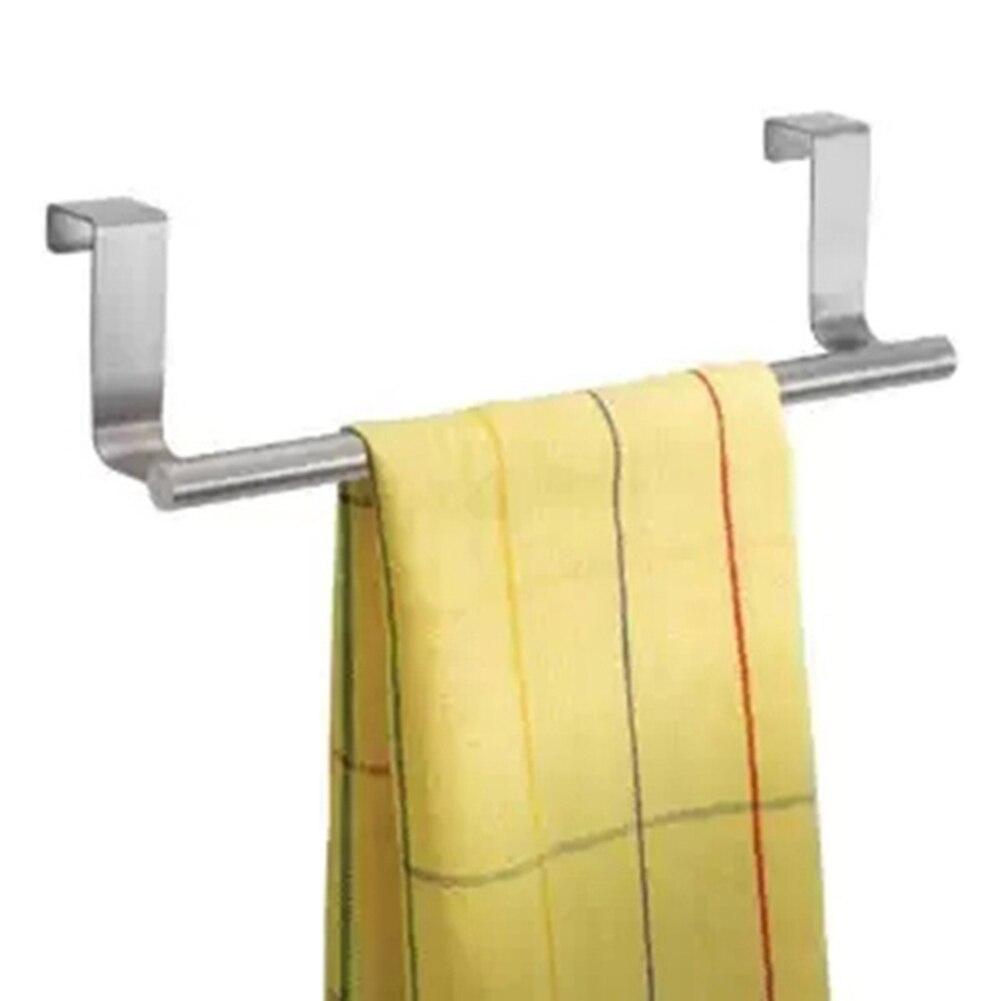 Towel rack kitchen cabinet - Stainless Steel Cabinet Hanger Over Door Kitchen Hook Towel Rail Hanger Bar Holder Bathroom Storage Tools