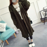 Lanterne Manches hiver chandail filles épaissie long cardigan lâche grossier laine veste taille Coréenne femmes automne