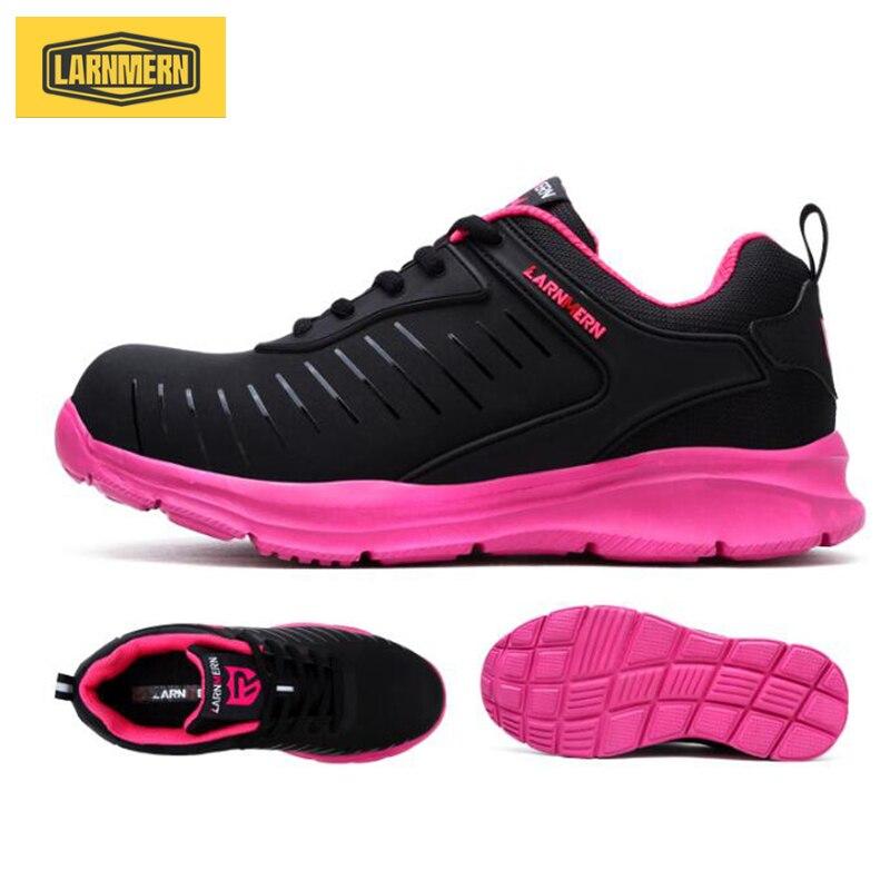 LARNMERN rose femmes chaussures de travail en plein air bottes de sécurité en acier embout Anti-fracassant baskets avec bande réfléchissante chaussures de sécurité