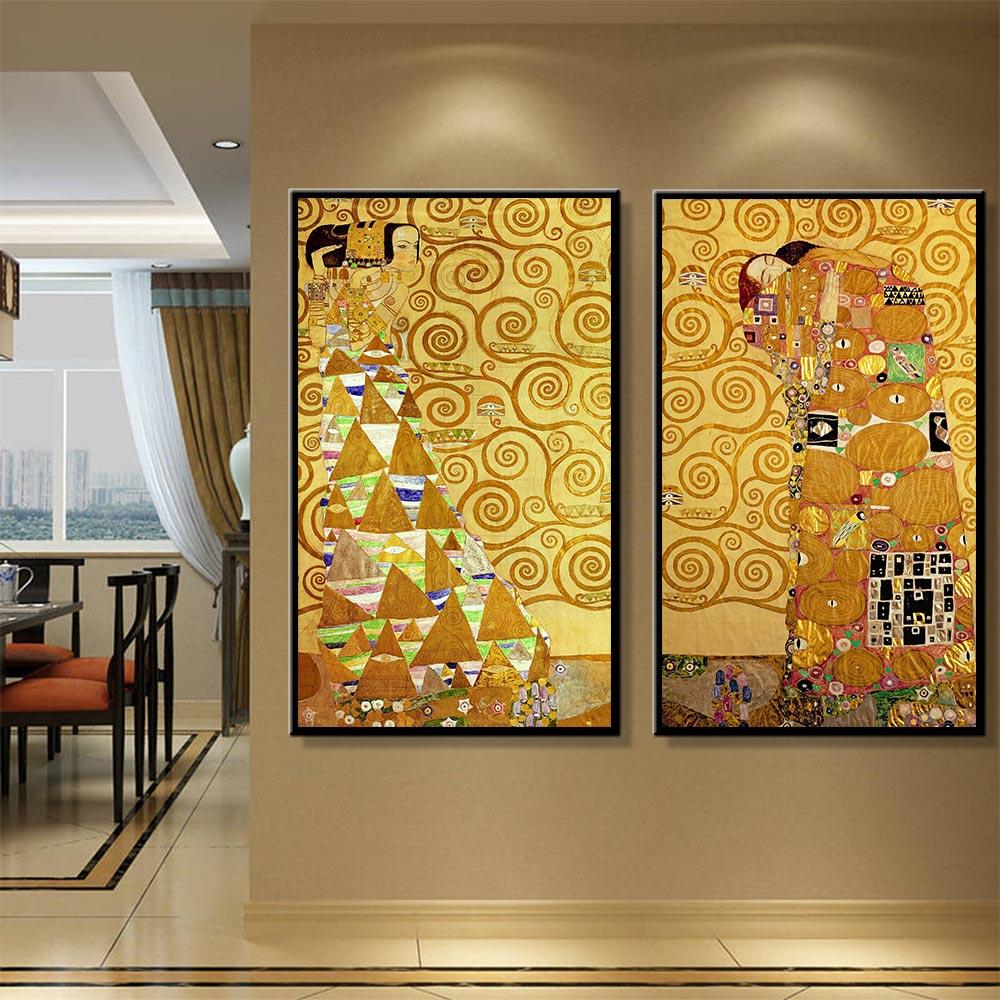 Gustav Klimt Oil Painting Posters and Prints Scandinavian The Kiss ...