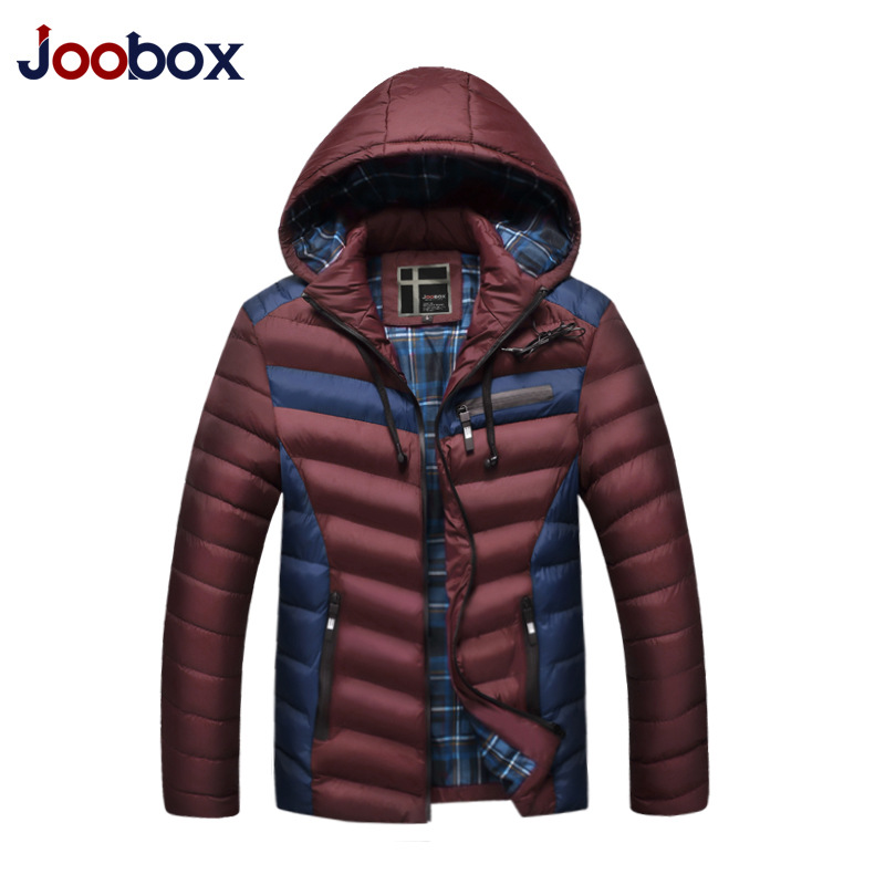 JOOBOX Brand 2017 New arrival Mens Winter Jackets And Coats Hooded Headset thick Cotton Liner Patchwork Removable Hat Outwear  plus size 4xl bust 132cm winter mens jackets and coats brand nianjeep thick warm cotton clothing new arrival military