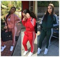 2019 Men Tracksuit Women 2 Pieces Set Outwear Sweatsuit Zipper Striped Tracksuit Long Sleeve Sweatshirt+Pants Sporting Sets