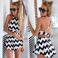 New Arrival 2016 Women's Suit Sexy Crop Top And Shorts Set Striped Spaghetti Strap 2 Piece Set Women Beach Culotte Suits