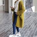Женщины Свитер Длинный Кардиган 2016 Мода Осень Зима Стиль С Длинным Рукавом Свободные Толстые Трикотажные Кардиган женский D307