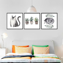 Modern Prints Cute Animals Cat Potted Plants Wall Art Canvas Painting Kids Bedroom Home Decor Nordic Poster Pictures No Frame