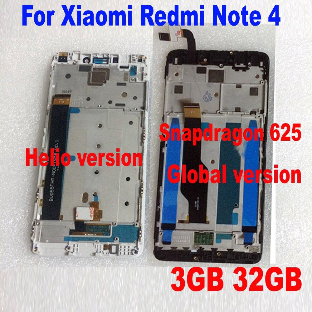 LTPro MTK Helio X20/versione globale versione 32 GB/64 GB Display LCD Touch Screen Digitizer Assembly + frame Per Xiaomi Redmi Nota 4