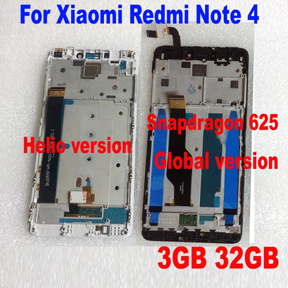 MTK LTPro Helio X20 versão/versão global 32 GB/64 GB Display LCD Touch Screen Digitador Assembléia + moldura Para Xiaomi Redmi Nota 4