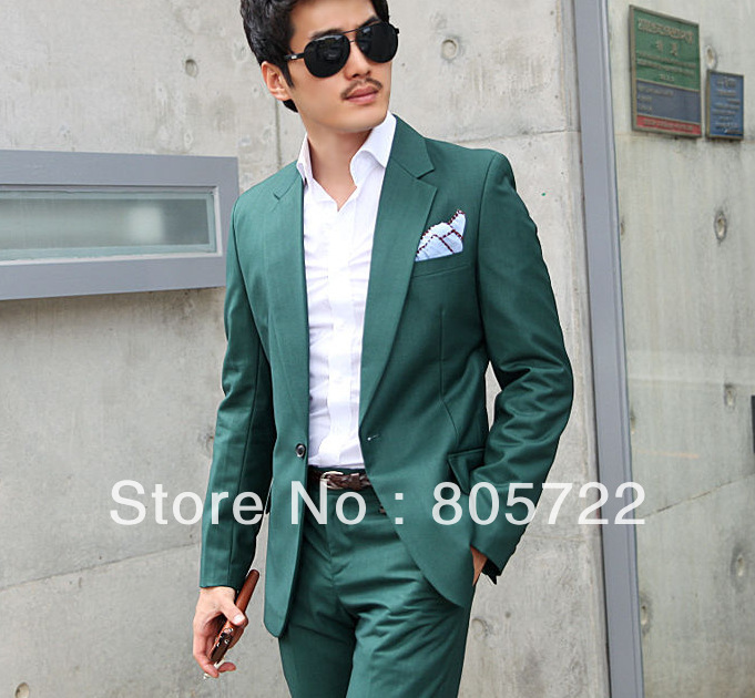 Custom Made Men S Suit 2 Piece 1 On Green Fashion Formal Suits Wedding Groom Tuxedo For Mens Q90 In From Clothing