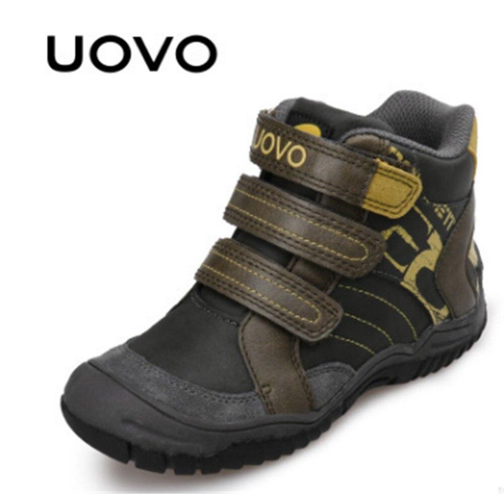 Nouveauté UOVO marque enfants garçons chaussures de Sport en cuir PU extérieur antidérapant enfants chaussures espadrilles décontractées pour garçons taille 26-36