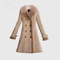 2018 Women khaki genuine leather real sheepskin shearling leather long coat outwear real fox fur collar casaco feminino LT2709