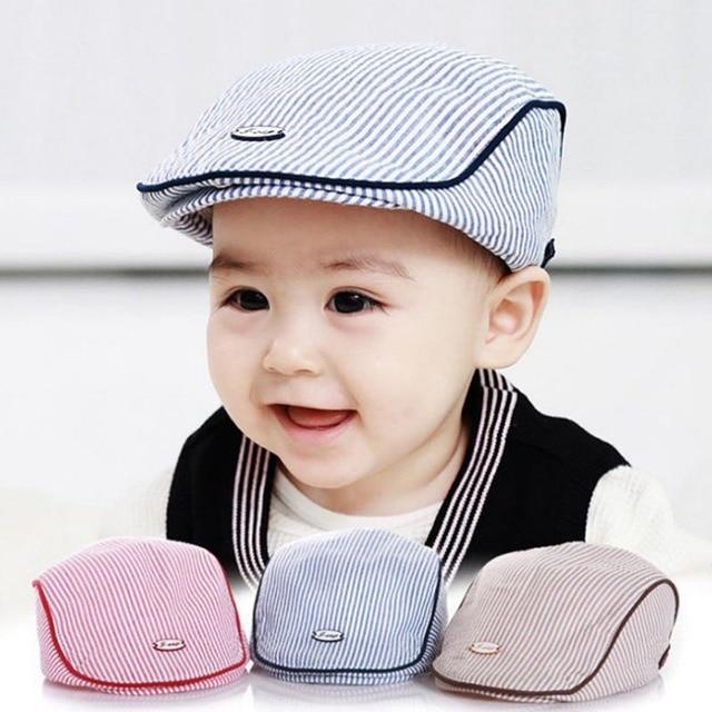 New Stylish Baby Children Infant Stripe Beret Cap Baseball Hat Cute Kids  Gifts Baseball Infant Boy Kids Caps Summer Cotton 05c4af558698
