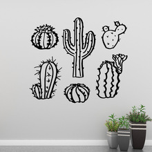 Luxuriant cactus Family Wall Stickers Mural Art Home Decor For Kids Room Decoration Murals