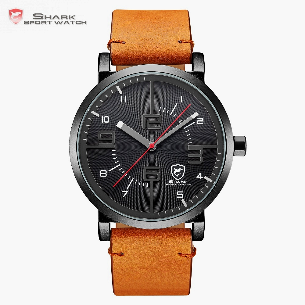 Bahamas Saw SHARK Sport Watch Luxury Brand Men Clock Male Quartz Brown Crazy Horse Leather Waterproof Casual Relogio Gift /SH568 greenland shark sport watch brand