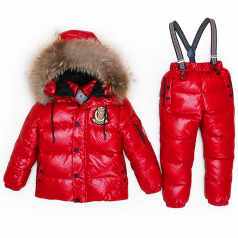 Cold Winter Kids Clothes Set Duck Down Filling Big Natural Fur Children Clothing Suit Boys Girls Snow Wear Tracksuit Baby Onesie 2016 winter boys ski suit set children s snowsuit for baby girl snow overalls ntural fur down jackets trousers clothing sets
