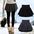 2016 осенью и зимой женщины шерстяные короткие юбки кружева плиссированные бюст юбки высокой талией юбка все матч основной юбки JX076