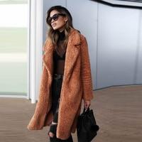 Women Fur Coat 2019 Winter Fluffy Shaggy Faux Long Fur Coat Thick Warm Jacket Black Teddy Bear Coat Plus Size 3XL Outwear Pele