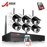 ANRAN Plug And Play P2P WIFI 8CH NVR 6PCS Outdoor 36 IR 1080P Network IP Wireless