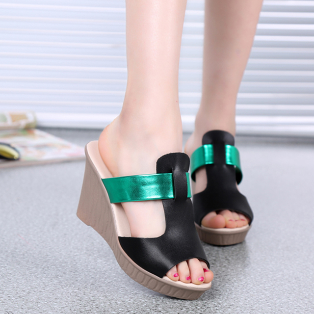 176fc1922e0f 2017 Summer Leather Women Sandals Peep Toe Roman Shoes Wedges Platform  Sandals Slip On Mixed Colors High Heels Slippers
