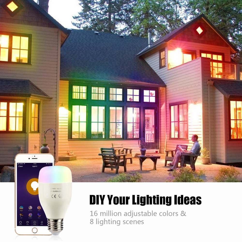Купить с кэшбэком E27 RGB 7W WIFI LED Smart Bulb Ball Lamp Dimmable Color LED Light Bulb Works with Alexa Google Home iOS Mobile Phone APP Control