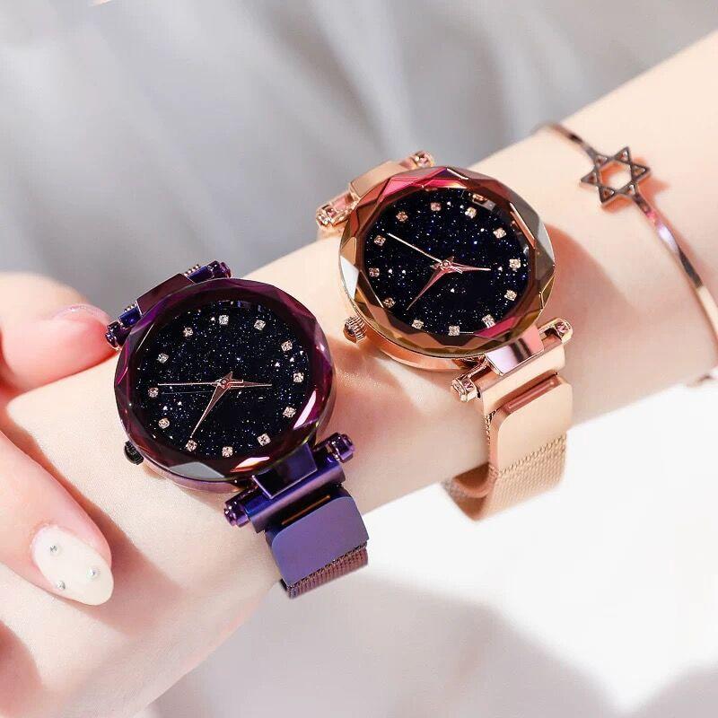 2019 Luxury Rose Gold Women Watches Minimalism Starry sky Magnet Buckle Fashion Casual Female Bracelet Wristwatch Crystal Clock