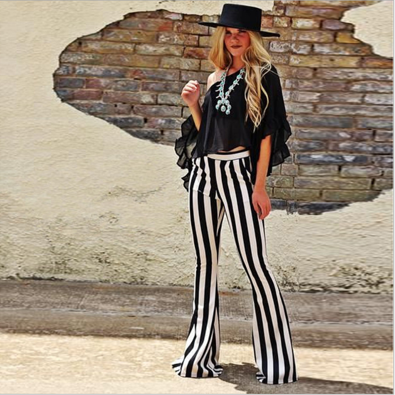 2018 New Women's Stylish   Wide     Leg     Pants   Black White Striped Women Elegant OL Style Trousers Flare   Pants   With Pockets