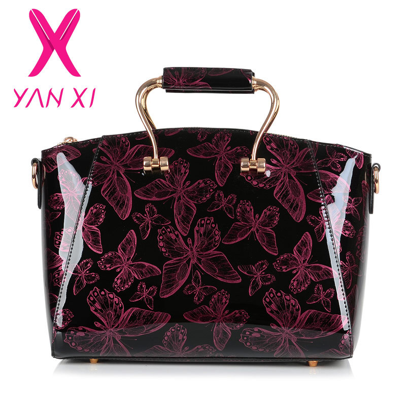 YANXI 2016 New Patent leather Butterfly pattern luxury Handbags Women Casual Tote bag Ladies Printing Shoulder Messenger Bags luxury patent leather women s totes stone pattern ladies shoulder bags brand girl tote chain messenger bag bolsas femininas ht50
