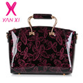 YANXI 2016 New Patent leather Butterfly pattern luxury Handbags Women Casual Tote bag Ladies Printing Shoulder Messenger Bags