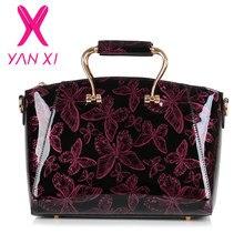 YANXI 2016 Neue lackleder Schmetterling muster luxus Handtaschen Women Casual tragetasche Damen Druck Schulter Messenger Bags