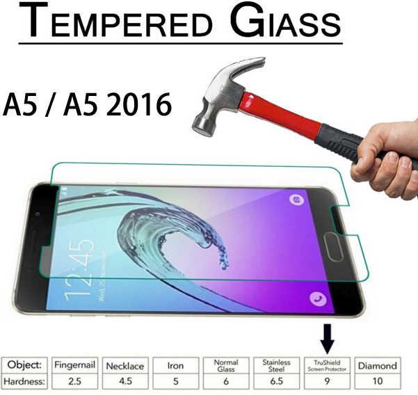 حار قسط الزجاج المقسى 2.5D لسامسونج A3 A5 A7 J3 J5 J7 2015 2016 حامي الشاشة غطاء 9H المضادة للانفجار فيلم واقية