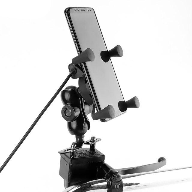 دراجة نارية فرامل/مخلب خزان مضخة جبل هاتف محمول ماسِك للجوّال مع 2A شاحن يو اس بي ل 4 5.5 بوصة هاتف محمول s غس